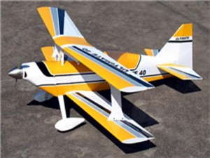 "J-Hobbies New ARF! Yellow Ultimate BiPe 40 - 41.5"" Nitro Gas Radio Control RC Airplane"